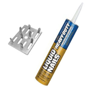 impaling clips and adhesive for install sound panels