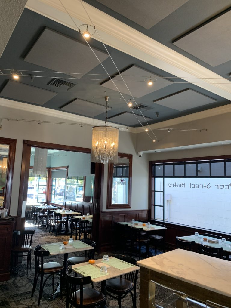 sound panels on ceiling control restaurant noise