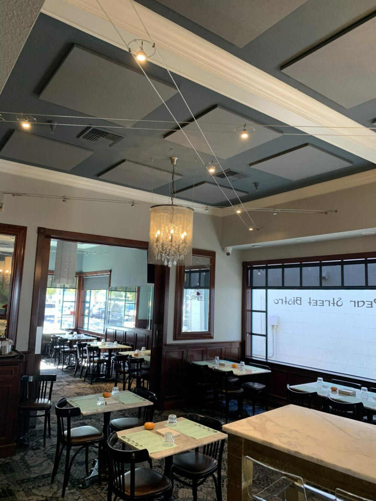 sound panels on ceiling control restaurant noise