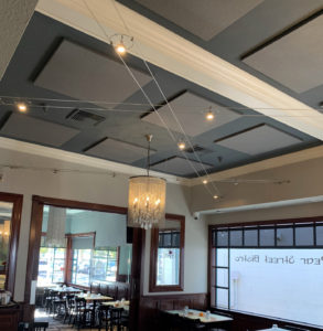 acoustic ceiling mounted sound panels control echo