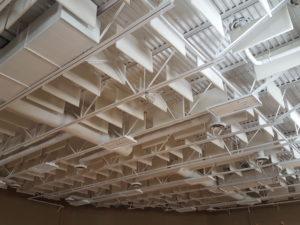 sound baffles controlling echo off metal roof deck