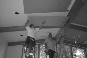 sound control installation of ceiling sound panels